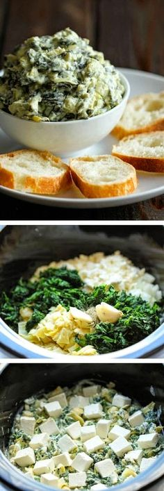 Inspiring snaps: Slow Cooker Spinach and Artichoke Dip Pesto, Tapenade, Cooker Recipes, Slow Cooker Dips, Chef Recipes, Appetizer Dips, Crock Pot Appetizers, Warm Appetizers, Crock Pot Dips