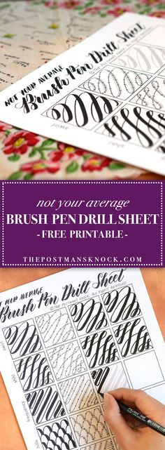 Not Your Average Brush Pen Drills Sheet! From The Postman's Knock, this fun drill sheet lets you practice brush pen writing in a very artistic way. Hand Lettering Practice, Calligraphy Practice, Hand Lettering Fonts, Creative Lettering, Lettering Tutorial, Chalk Lettering, Caligraphy Practice Sheets, Hand Lettering For Beginners, Calligraphy Tutorial