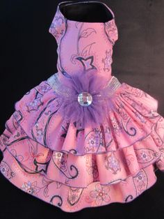 NEW Couture Pink & Purple Paisley Corduroy Dog Dress _ Dog Clothes _ Harness Custom hand-made small breed dog dresses. Made in Michigan : ) This dress exudes sophistication -- your little girl will look spectacular in it! 2014