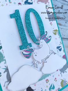 Stampin' Up! Magical Day Unicorn Handmade Birthday Card for Young girl, Eimear Carvill www.stampincolour.com