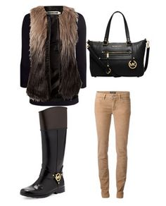 Perfect Winter Outfit Fur vest & Michael Kors boots