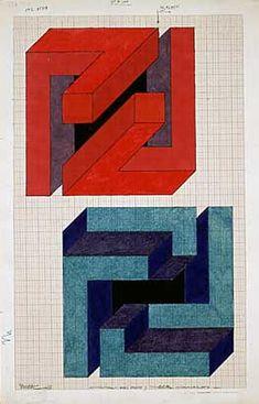 José María Yturralde Figuras imposibles, boceto,1972. Lápiz y tinta sobre papel, 34 x 24 cm