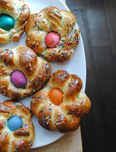 Italian Easter Bread with Sprinkles and Dyed Eggs