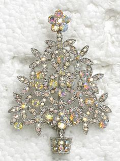CLEAR AB RHINESTONE CRYSTAL CHRISTMAS TREE PIN BROOCH C50 | eBay