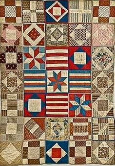 This quilt of individually quilted and bound blocks (aka Potholder quilts) is attributed to the Civil War years, made for a Soldier's Aid Society---in the collection of the New England Quilt Museum. Old Quilts, Antique Quilts, Vintage Quilts, Crib Quilts, Scrappy Quilts, Quilted Potholders, Civil War Quilts, Quilt Of Valor, Patriotic Quilts