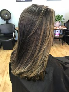 Dark brown espresso hair color with caramel honey sandy Ashe blonde balayage highlights for medium length hair