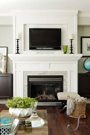 TV above Fireplace Mantel built by Thomas Homes Inc Fireplace