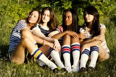Red Blue and Yellow Long Striped Socks by sopasse on Etsy, $15.00