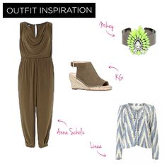 For a day of shopping – this jumpsuit is great for concealing the tummy and flattering a larger bust. Complete the look with an Espadrille heel and light weight jacket.