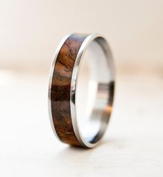 Mens Wood Wedding Band  Titanium Ring by StagHeadDesigns on Etsy, $185.00