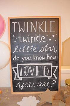 Love this chalkboard sign for a Twinkle Twinkle Little Star Baby Shower. - Love this chalkboard sign for a Twinkle Twinkle Little Star Baby Shower. Deco Baby Shower, Shower Bebe, Shower Party, Baby Shower Games, Baby Shower Parties, Baby Boy Shower, Baby Shower Table, Twinkle Twinkle Little Star, Twinkle Star Party