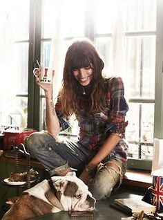 Distressed Blue Jeans, Fitted Blue and Red Flannel... Relaxed Artist