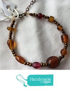 Copper and Brown Glass Bead and Wire Bracelet 7 Inch from Southern Women Crafts https://www.amazon.com/dp/B01MST79PP/ref=hnd_sw_r_pi_dp_UAWpybGNAP32W #handmadeatamazon