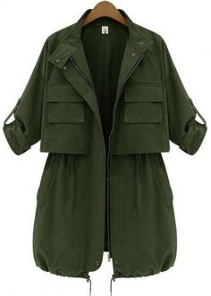 To find out about the Army Green Long Sleeve Drawstring Pockets Trench Coat at SHEIN, part of our latest Outerwear ready to shop online today! Trench Coat Outfit, Coat Dress, Green Trench Coat, Trench Jacket, Mode Sombre, Moda Outfits, Iranian Women Fashion, Jackett, Mode Hijab