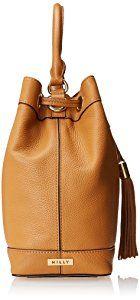 MILLY Astor Drawstring Bucket Handbag, Caramel, One Size,Caramel,One Size