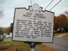 Oak Grove Male Academy Marker. Click for full size.