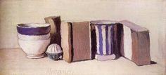 """Nature morte (Tasses et boîtes)"" 1951 par Giorgio Morandi (1890-1964)"