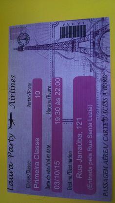 Convite composto por duas partes, um envelope tipo porta cartão (passaporte) e um convite (passagem aérea). Produzidos em papel fotográfico glossy 260 g. Acompanha tags para nome do convidado. Acabamento em 3d.