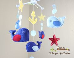 Baby Mobile - Baby Crib Mobile - Jackson Whale Nursery Mobile - Blue and Red Whales and Fish (You Can Pick Your Colors). $80.00, via Etsy.