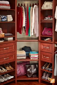 Corners are more than just empty space with the Impressions Corner Unit, available in three classic wood finishes. Equipped to organize anything from shoes to toiletries to books, the corner unit helps get use out of every last inch of your square footage. It's part of the ClosetMaid Impressions storage system available at The Home Depot.