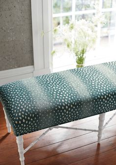 Eaton Ottoman Bench from Thibaut Fine Furniture in Gazelle woven fabric in Peacock