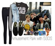 """""""Amusement Park with 5SOS"""" by marissa-louise ❤ liked on Polyvore featuring James Jeans, American Eagle Outfitters, Vans, Smashbox and Marvel Comics"""