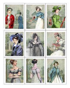 Tela Panel Jane Austen /Regency /Set de 9 ATC paneles algodón 100% / ATC / arte alterado / tarjetas artesanales