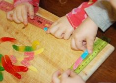 cute measuring/subtraction idea:  measure the whole gummy worm, record; take a bite and measure again (subtract the difference).