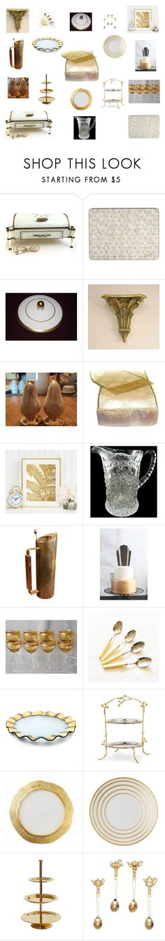 Dining Table Decor Retro Gold and Ivory by einder on Polyvore featuring interior, interiors, interior design, hogar, home decor, interior decorating, Patchi, Annieglass, J.L. Coquet and Godinger