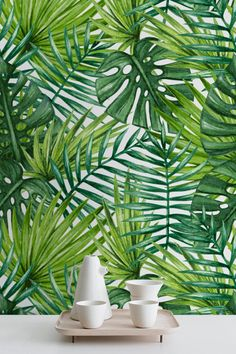 Watercolor Tropical Palm Leaves Wallpaper, Tropical Removable Wallpaper, Palm Leaves Wall Mural, 278 by WallfloraShop
