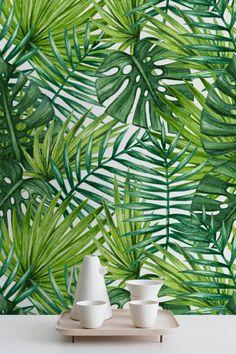 Watercolor Tropical Palm Leaves Wallpaper, Tropical Removable Wallpaper, Palm Leaves Wall Mural, 278 by WallfloraShop
