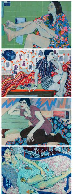 thunder in our hearts: hope gangloff. Absolutely love this! Such vivid, beautiful colours and patterns with such languid poses :) Like a modern day Klimt.