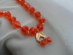 Vintage Estate Sale Japan Clear Orange Plastic Bead Necklace