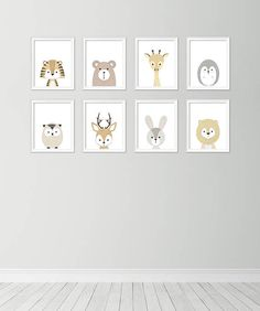 Set of 8 animal posters  Neutral nursery decor  Cute nursery
