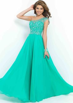 Green Beaded Prom Dresses 2015