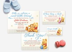 WINNIE THE POOH Baby Shower Invitation Set, Thank You Card, Diaper Raffle Ticket, Bring a Book Card, Matching Game Set available