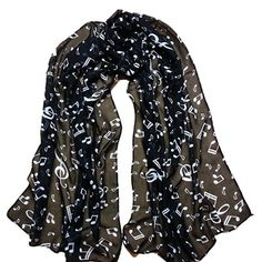 Christmas Gift, Egmy 1PC Women Lady Musical Note Chiffon Neck Scarf Shawl Muffler Scarves (Black) * You can find out more details at the link of the image.