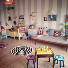 Modern kids room. Ferm Living. Lapin  Me baby lapin lamp. Striped walls.