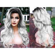 """U.S.A. 20"""" Long Silver White Heat SAFE Ombre Grey Gray Lace Front Skin... ($90) ❤ liked on Polyvore featuring tops"""