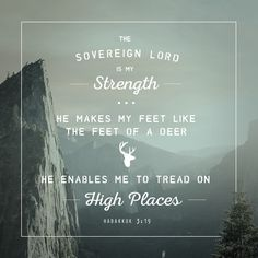 Habakkuk 3:19 The sovereign Lord is my strength. He makes my feet like the feet of a deer. He enables me to tread on High Places.