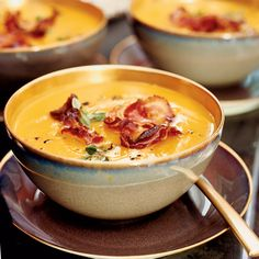 Butternut Squash Soup with Crisp Pancetta - This creamy soup gets a jolt of texture from supercrispy pancetta. http://www.foodandwine.com/recipes/butternut-squash-soup-with-crisp-pancetta