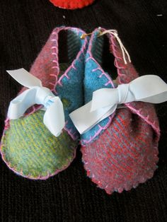 Baby shoes hand made from recycled pure wool blankets how gorgeous they are