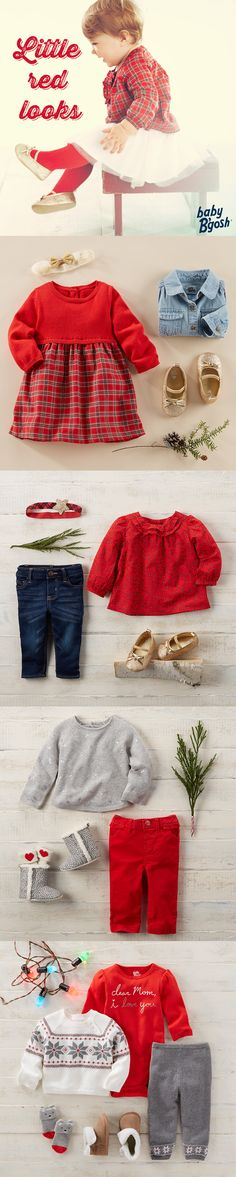 LITTLE RED LOOKS: These red-letter looks from Baby B'gosh pull together pint-size plaids, festive florals and a little fair isle for good measure. Take a peek at OshKosh for more from Baby B'gosh.