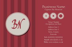 Photography Business Card (back) designed by Nic's Designs.