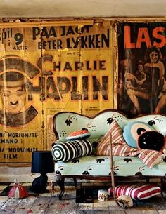 vintage posters // mixed pillows