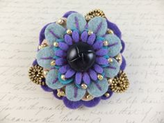 Flower Felt Zipper Brooch by Lola
