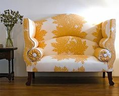 High Back Settee with vibrant upholstery.  Timeless Trends Custom Furnishings is a full-service, interior design workroom with a distinguished reputation. We can fabricate almost anything that can be dreamed up: custom slipcovers to exquisite reupholstery and beautiful window fashions.  www.alexus-trends.com