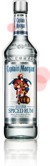 Bottle of Captain Morgan Silver Spiced Rum.