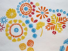 flower pattern. Printed with hand carved stamps. Block printing.