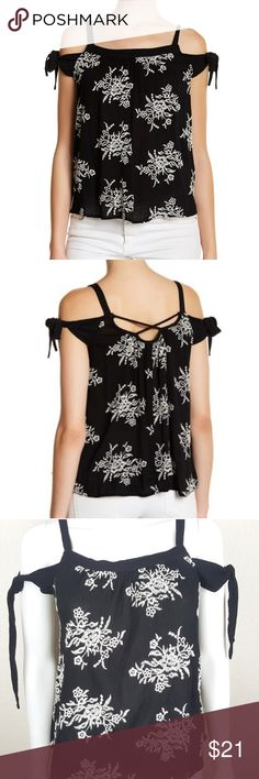 Bobeau Women's Embroidered Blouse SO Small Petite Bobeau women's black and white embroidered blouse.  Cold shoulder with tied bows.  Size SP (small petite)  100% Rayon.  Brand new with tags $42   Armpit to armpit 18 inches  Length 24 inches bobeau Tops Blouses